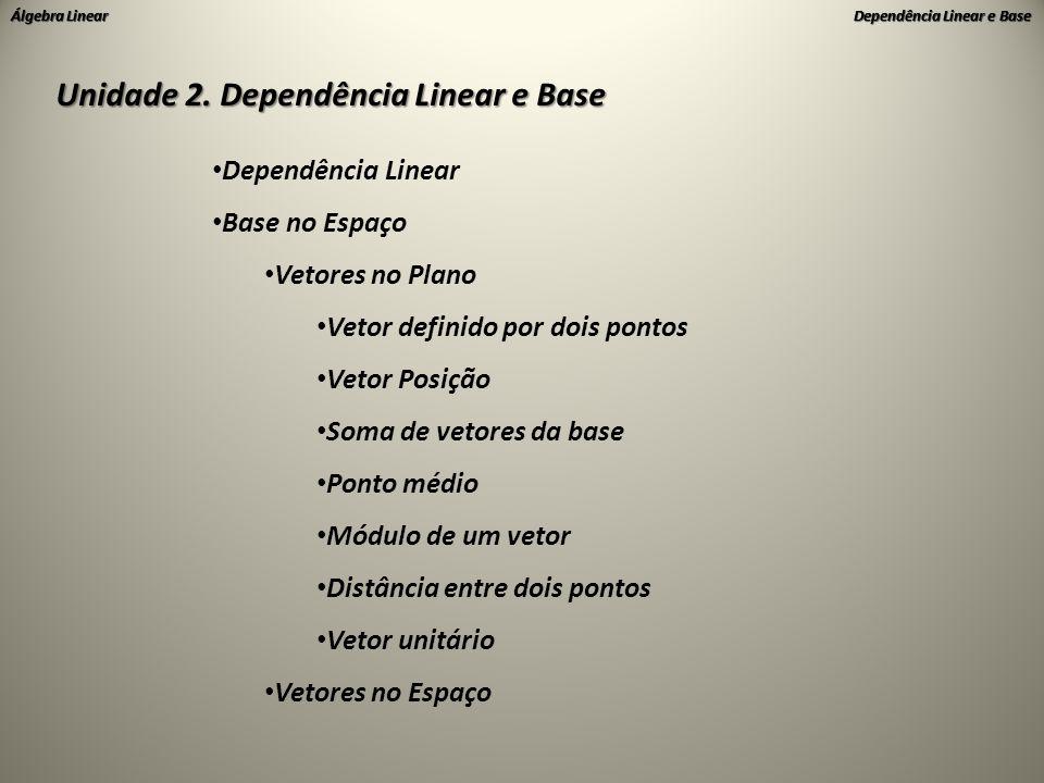 Álgebra Linear Dependência Linear e Base • Dependência Linear uvuvuv 1.Dado {u,v} onde u=-2v  u//v uv Então {u,v} é linearmente dependente (LD) Caso Particular de uv au+bv=0 Onde a=1 e b=2 u0 2.