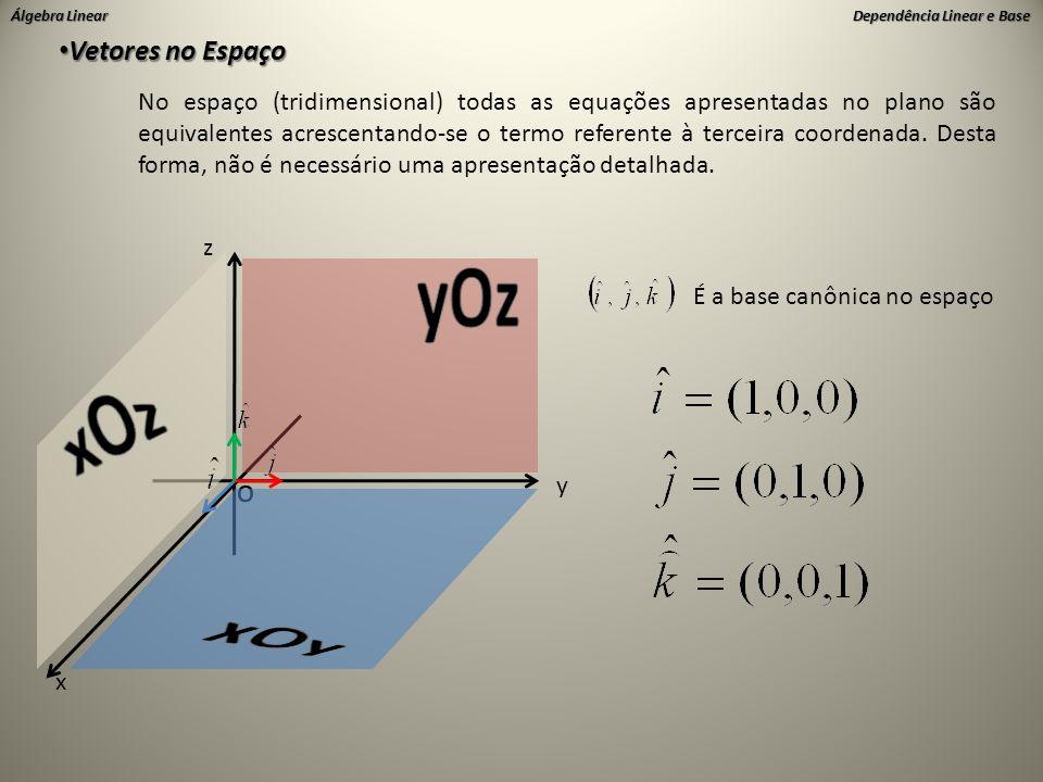 Álgebra Linear Dependência Linear e Base • Vetores no Espaço No espaço (tridimensional) todas as equações apresentadas no plano são equivalentes acres