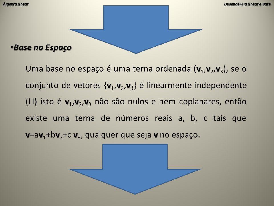Álgebra Linear Dependência Linear e Base • Base no Espaço vvv vvv vvv vvvvv Uma base no espaço é uma terna ordenada (v 1,v 2,v 3 ), se o conjunto de v