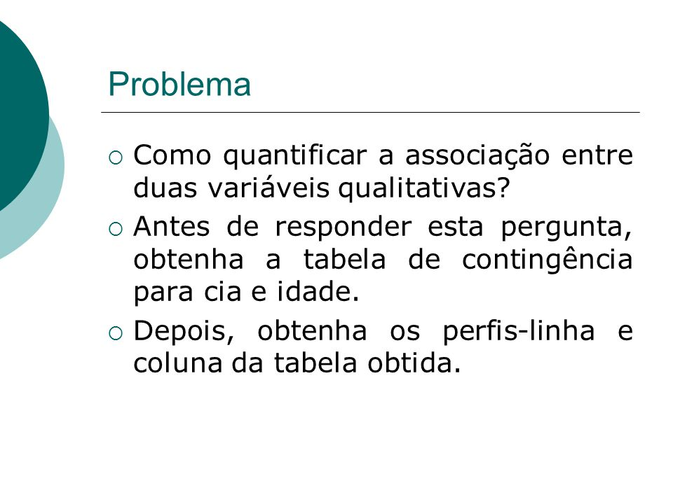 Problema  Como quantificar a associação entre duas variáveis qualitativas?  Antes de responder esta pergunta, obtenha a tabela de contingência para