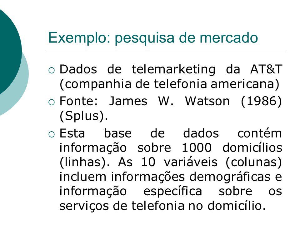 Exemplo (continuação)  Nome, descrição e código das variáveis:  1) cia – fator indicando se o domicílio usa os serviços de longa distância da companhia AT&T (ATT) ou de outras companhias (OCC).
