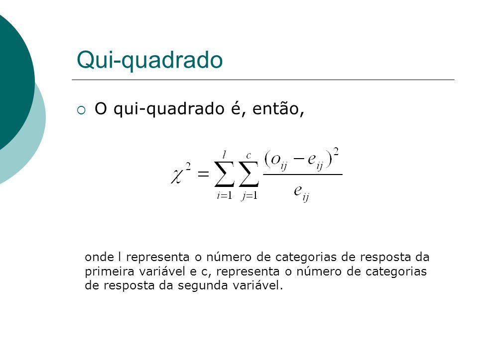 Qui-quadrado  O qui-quadrado é, então, onde l representa o número de categorias de resposta da primeira variável e c, representa o número de categori