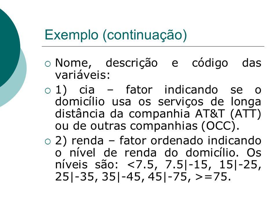 Exemplo (continuação)  Nome, descrição e código das variáveis:  1) cia – fator indicando se o domicílio usa os serviços de longa distância da compan
