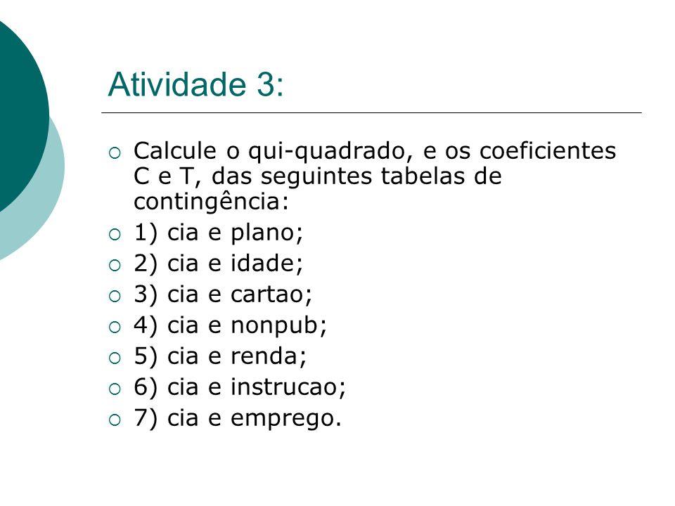 Atividade 3:  Calcule o qui-quadrado, e os coeficientes C e T, das seguintes tabelas de contingência:  1) cia e plano;  2) cia e idade;  3) cia e cartao;  4) cia e nonpub;  5) cia e renda;  6) cia e instrucao;  7) cia e emprego.
