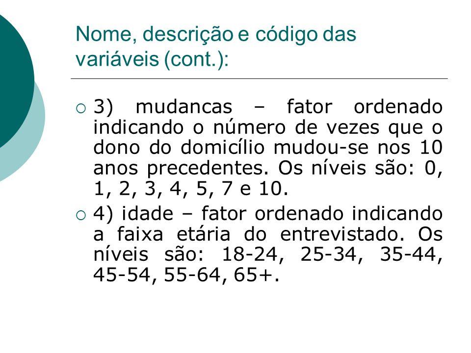 Nome, descrição e código das variáveis (cont.):  3) mudancas – fator ordenado indicando o número de vezes que o dono do domicílio mudou-se nos 10 anos precedentes.