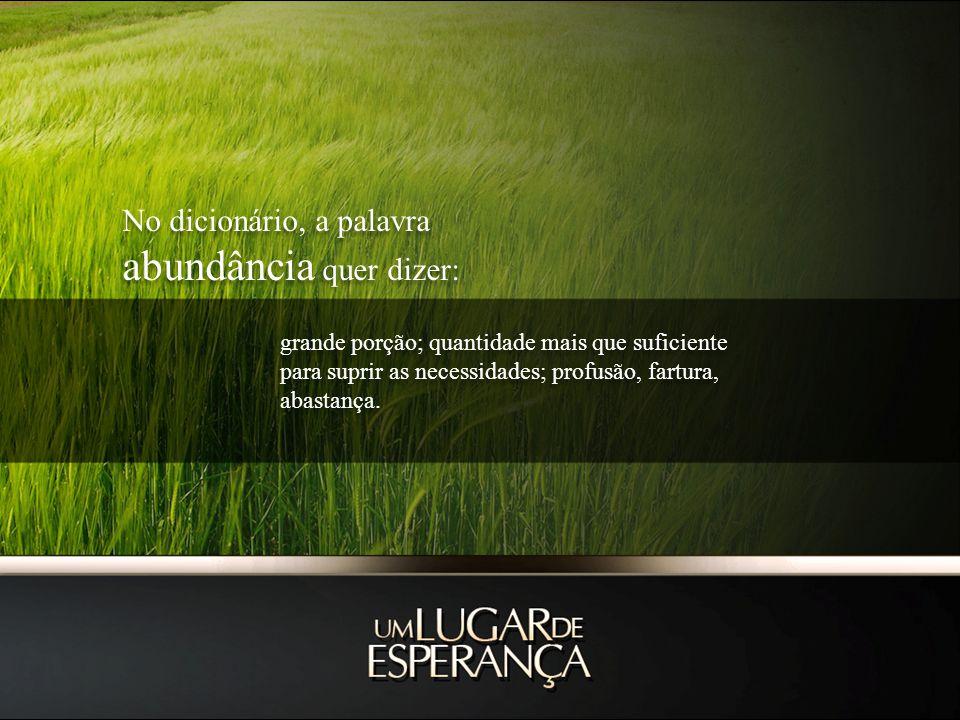 No dicionário, a palavra abundância quer dizer: No dicionário, a palavra abundância quer dizer: grande porção; quantidade mais que suficiente para suprir as necessidades; profusão, fartura, abastança.