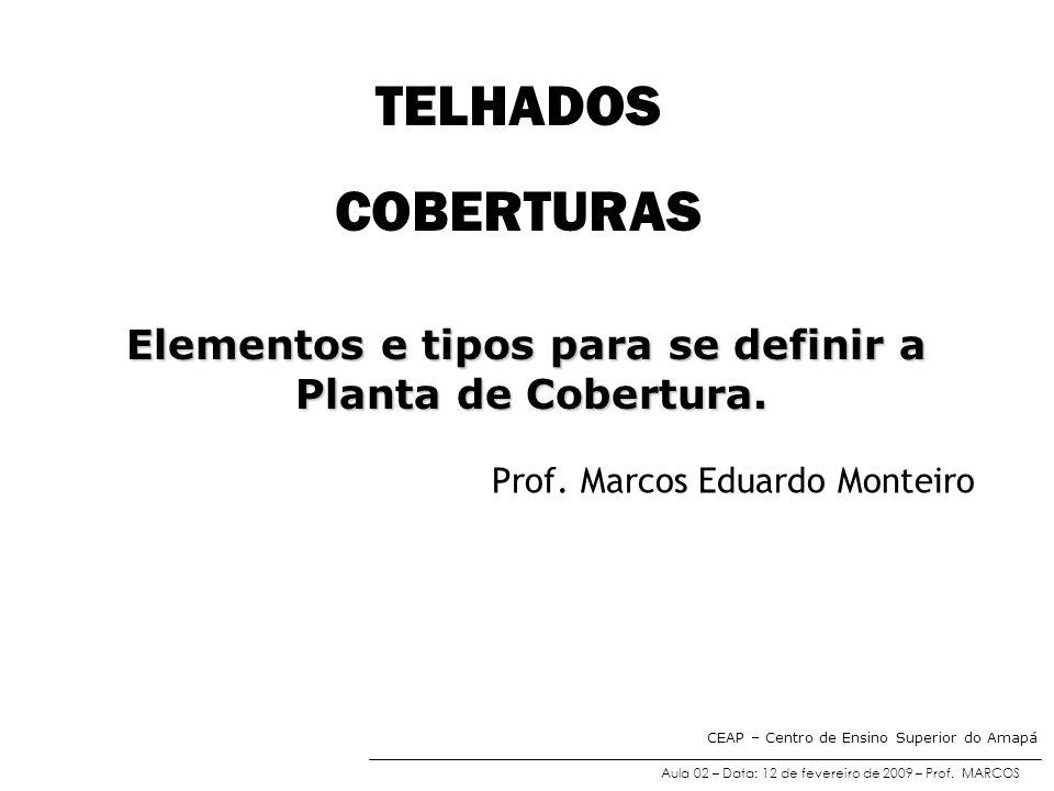 TELHADOS COBERTURAS Prof. Marcos Eduardo Monteiro Elementos e tipos para se definir a Planta de Cobertura. Planta de Cobertura. Aula 02 – Data: 12 de