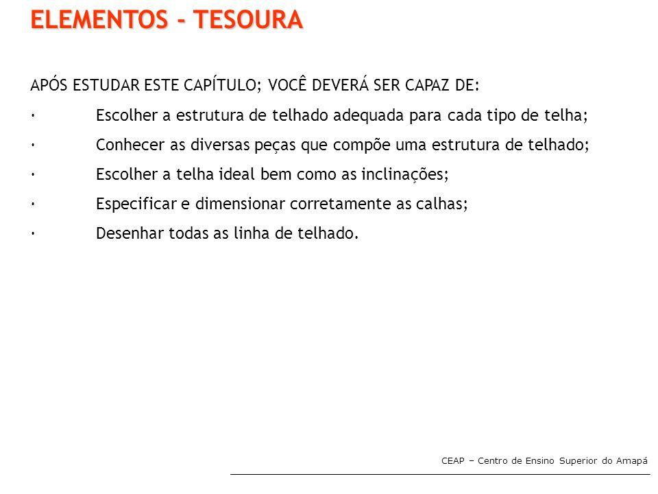CEAP – Centro de Ensino Superior do Amapá ELEMENTOS - TESOURA APÓS ESTUDAR ESTE CAPÍTULO; VOCÊ DEVERÁ SER CAPAZ DE: ·Escolher a estrutura de telhado a