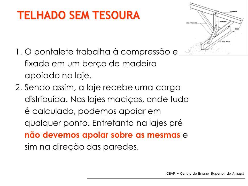 CEAP – Centro de Ensino Superior do Amapá TELHADO SEM TESOURA 1.O pontalete trabalha à compressão e é fixado em um berço de madeira apoiado na laje. 2
