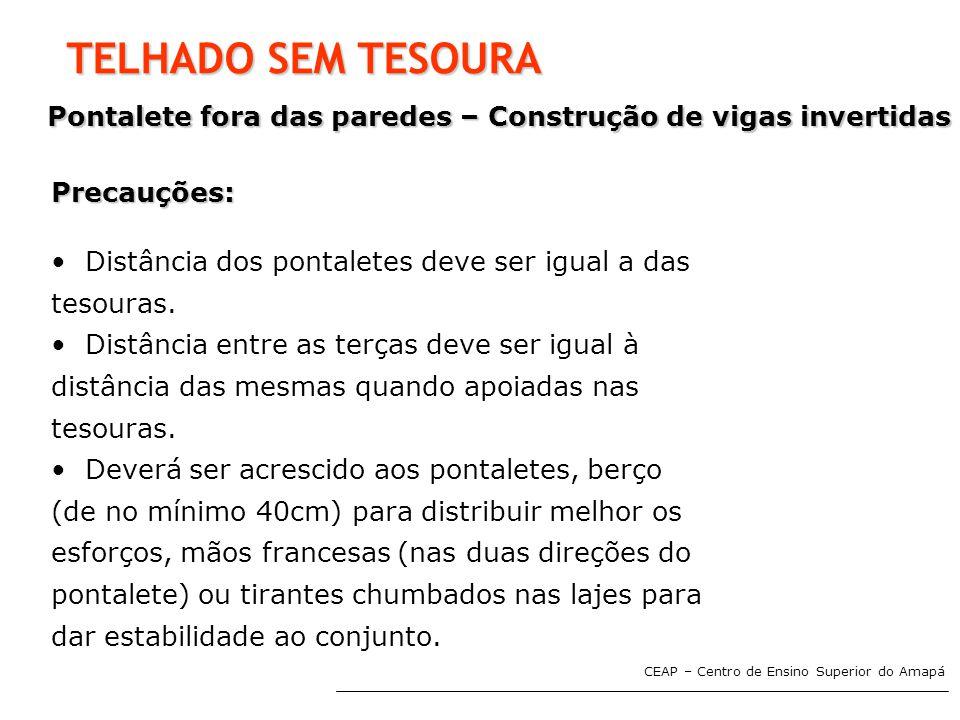 CEAP – Centro de Ensino Superior do Amapá TELHADO SEM TESOURA Pontalete fora das paredes – Construção de vigas invertidas Precauções: • Distância dos
