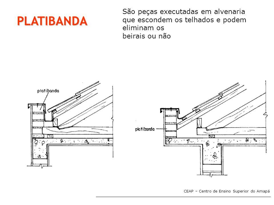 PLATIBANDA São peças executadas em alvenaria que escondem os telhados e podem eliminam os beirais ou não
