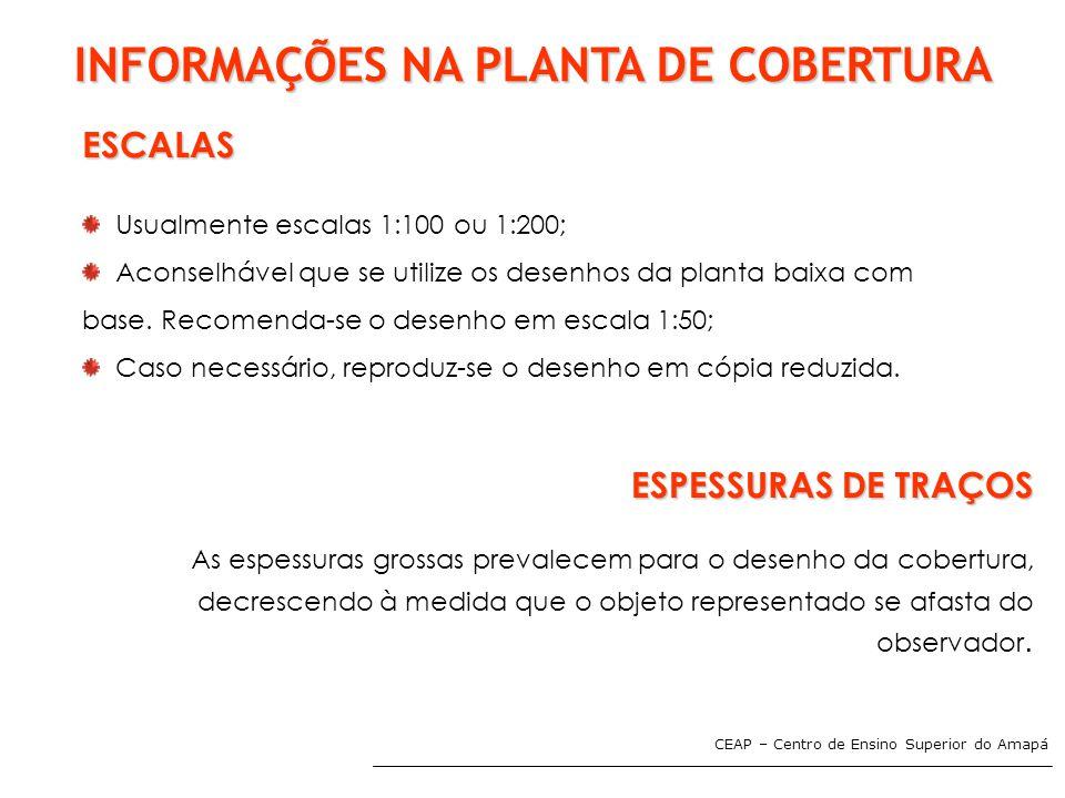 CEAP – Centro de Ensino Superior do Amapá INFORMAÇÕES NA PLANTA DE COBERTURA ESCALAS Usualmente escalas 1:100 ou 1:200; Aconselhável que se utilize os