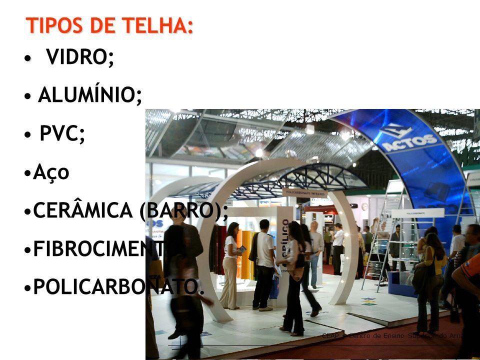 CEAP – Centro de Ensino Superior do Amapá TIPOS DE TELHA: • • VIDRO; • ALUMÍNIO; • PVC; •Aço •CERÂMICA (BARRO); •FIBROCIMENTO; •POLICARBONATO.