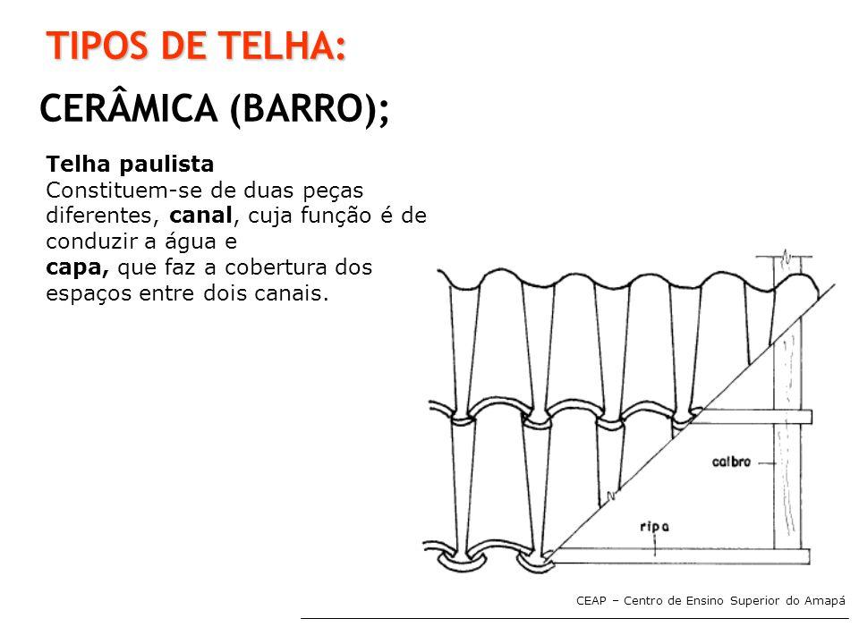 CEAP – Centro de Ensino Superior do Amapá TIPOS DE TELHA: CERÂMICA (BARRO); Telha paulista Constituem-se de duas peças diferentes, canal, cuja função