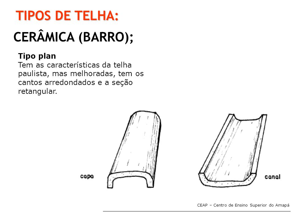 CEAP – Centro de Ensino Superior do Amapá TIPOS DE TELHA: CERÂMICA (BARRO); Tipo plan Tem as características da telha paulista, mas melhoradas, tem os