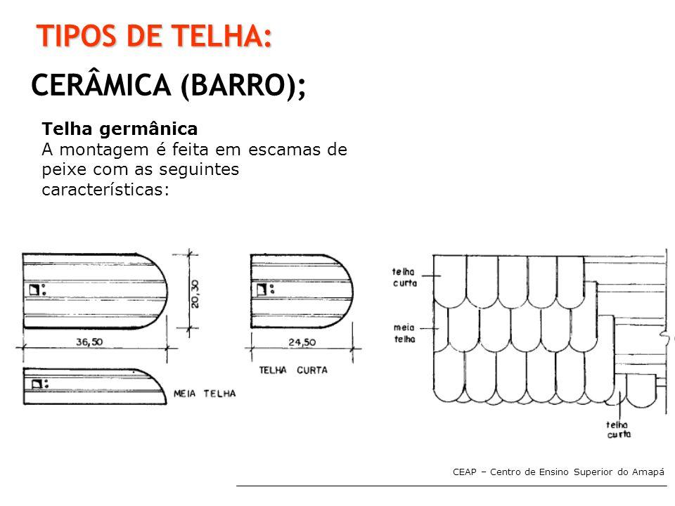 CEAP – Centro de Ensino Superior do Amapá TIPOS DE TELHA: CERÂMICA (BARRO); Telha germânica A montagem é feita em escamas de peixe com as seguintes ca