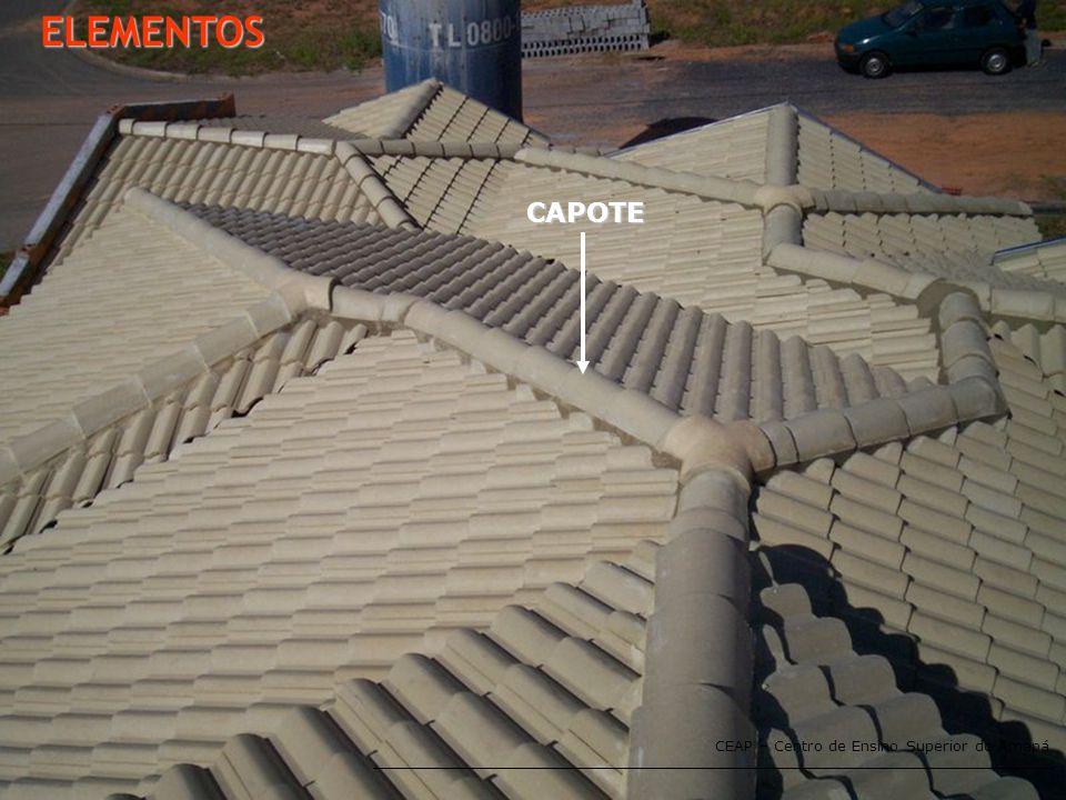 CEAP – Centro de Ensino Superior do Amapá ELEMENTOS - TESOURA APÓS ESTUDAR ESTE CAPÍTULO; VOCÊ DEVERÁ SER CAPAZ DE: ·Escolher a estrutura de telhado adequada para cada tipo de telha; ·Conhecer as diversas peças que compõe uma estrutura de telhado; ·Escolher a telha ideal bem como as inclinações; ·Especificar e dimensionar corretamente as calhas; ·Desenhar todas as linha de telhado.