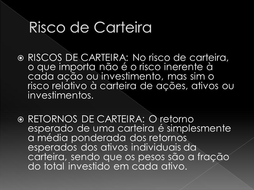  RISCOS DE CARTEIRA: No risco de carteira, o que importa não é o risco inerente à cada ação ou investimento, mas sim o risco relativo à carteira de ações, ativos ou investimentos.