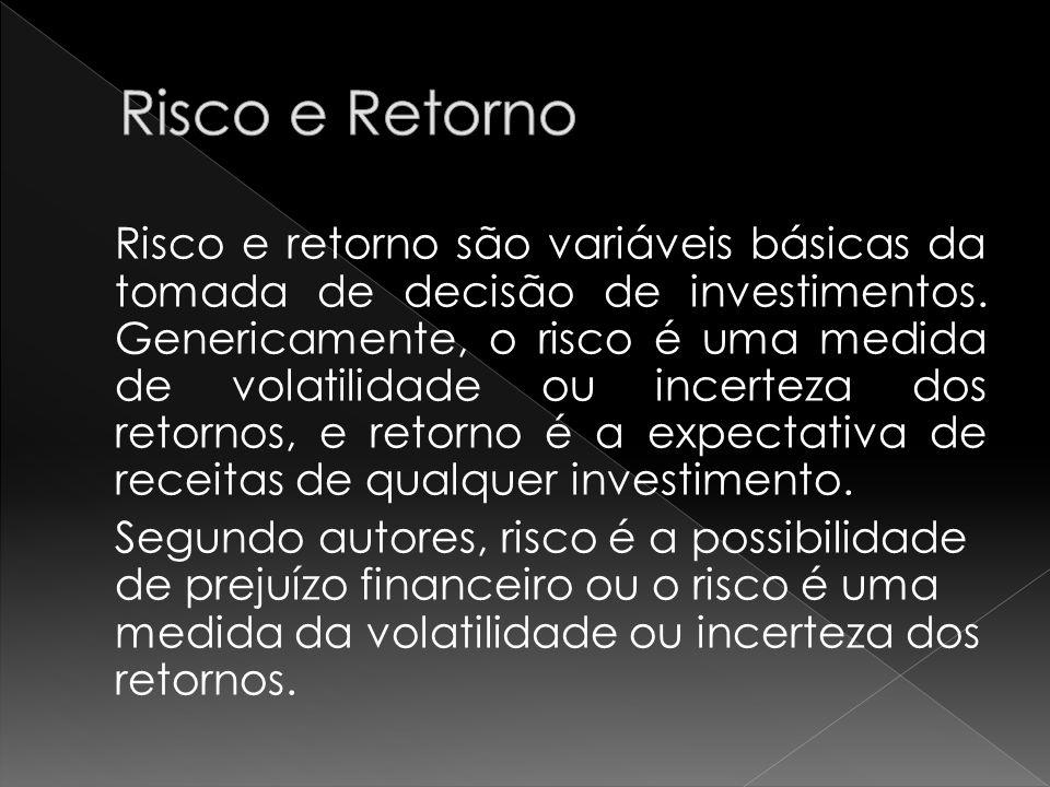 Risco e retorno são variáveis básicas da tomada de decisão de investimentos. Genericamente, o risco é uma medida de volatilidade ou incerteza dos reto