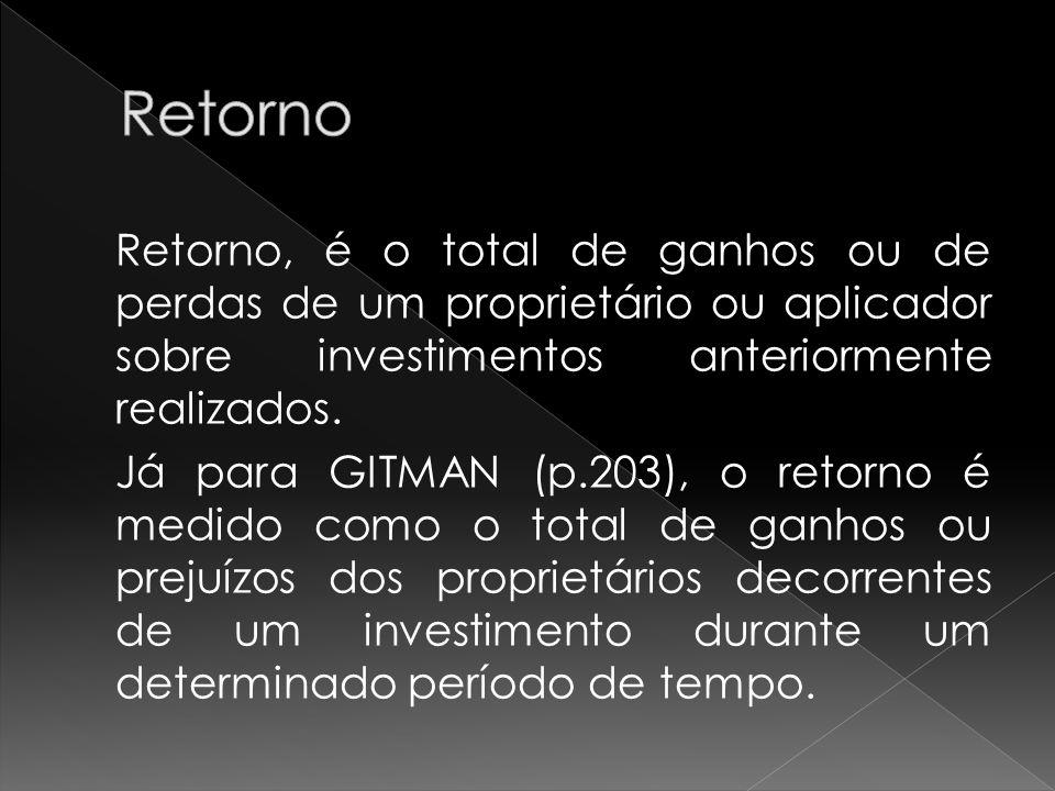 Retorno, é o total de ganhos ou de perdas de um proprietário ou aplicador sobre investimentos anteriormente realizados. Já para GITMAN (p.203), o reto