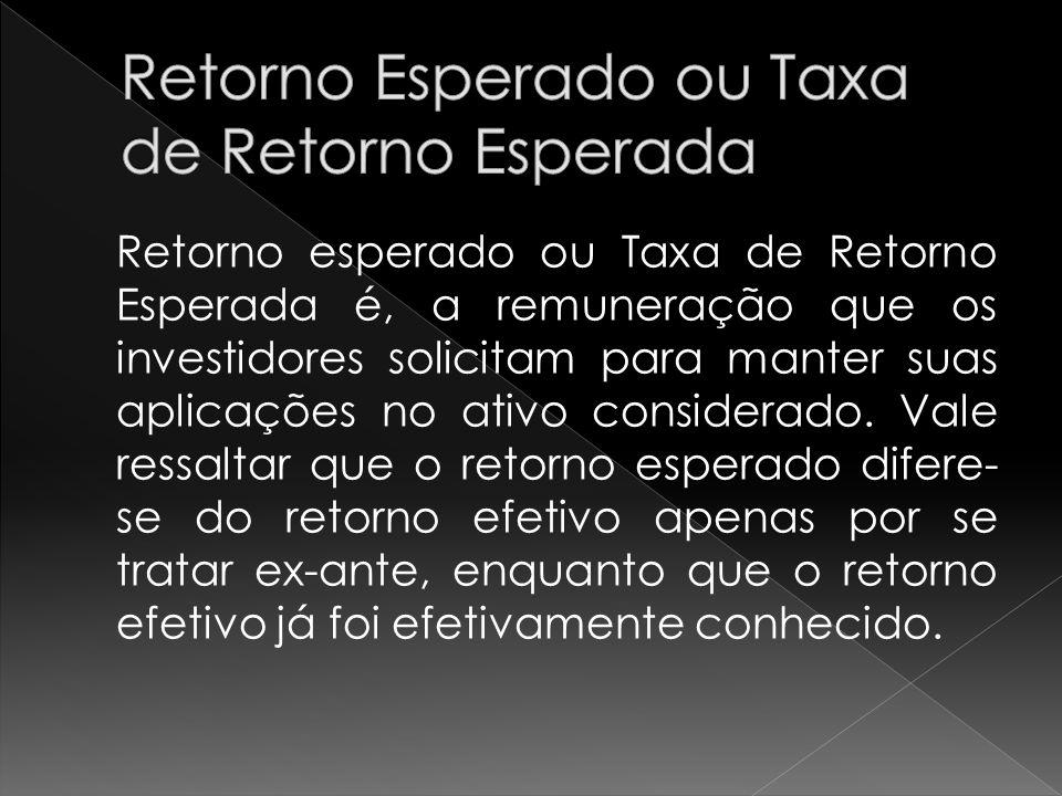Retorno esperado ou Taxa de Retorno Esperada é, a remuneração que os investidores solicitam para manter suas aplicações no ativo considerado.