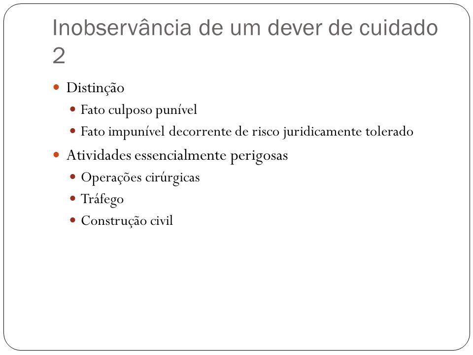 Inobservância de um dever de cuidado 2  Distinção  Fato culposo punível  Fato impunível decorrente de risco juridicamente tolerado  Atividades ess