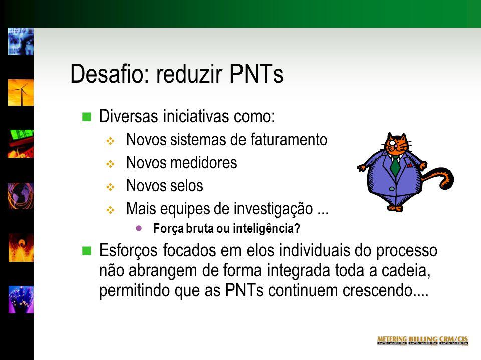 Desafio: reduzir PNTs n Diversas iniciativas como:  Novos sistemas de faturamento  Novos medidores  Novos selos  Mais equipes de investigação...