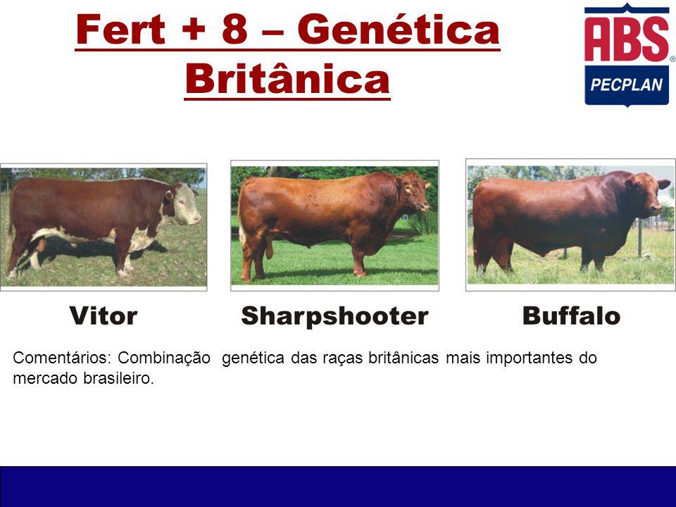 Fert + 8 – Genética Britânica Comentários: Combinação genética das raças britânicas mais importantes do mercado brasileiro.