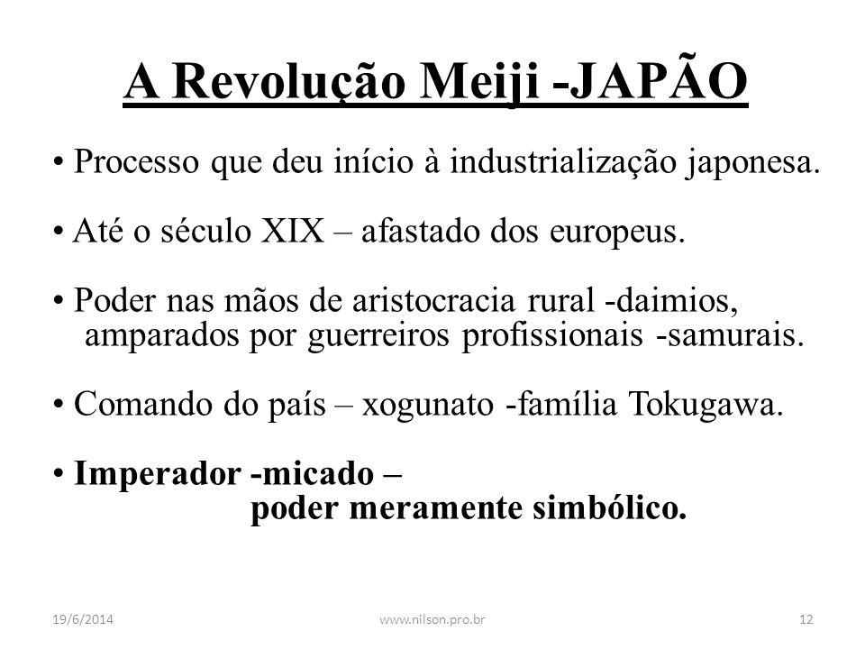 A Revolução Meiji -JAPÃO • Processo que deu início à industrialização japonesa. • Até o século XIX – afastado dos europeus. • Poder nas mãos de aristo