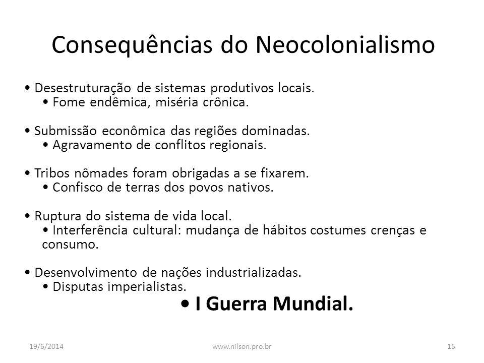 Consequências do Neocolonialismo • Desestruturação de sistemas produtivos locais. • Fome endêmica, miséria crônica. • Submissão econômica das regiões