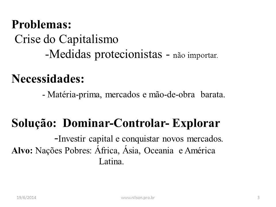 Problemas: Crise do Capitalismo -Medidas protecionistas - não importar. Necessidades: - Matéria-prima, mercados e mão-de-obra barata. Solução: Dominar