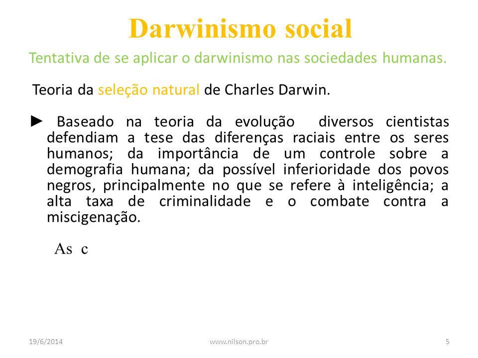 Darwinismo social Tentativa de se aplicar o darwinismo nas sociedades humanas. Teoria da seleção natural de Charles Darwin. ► Baseado na teoria da evo