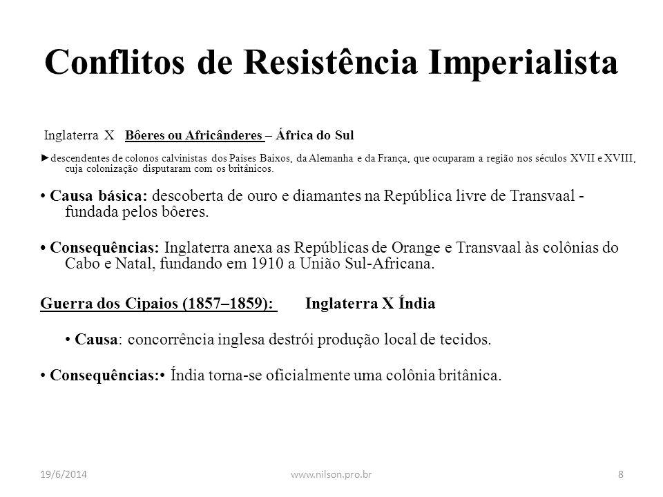 Conflitos de Resistência Imperialista Guerra dos Bôeres (1899 – 1902): Inglaterra X Bôeres ou Africânderes – África do Sul ► descendentes de colonos c