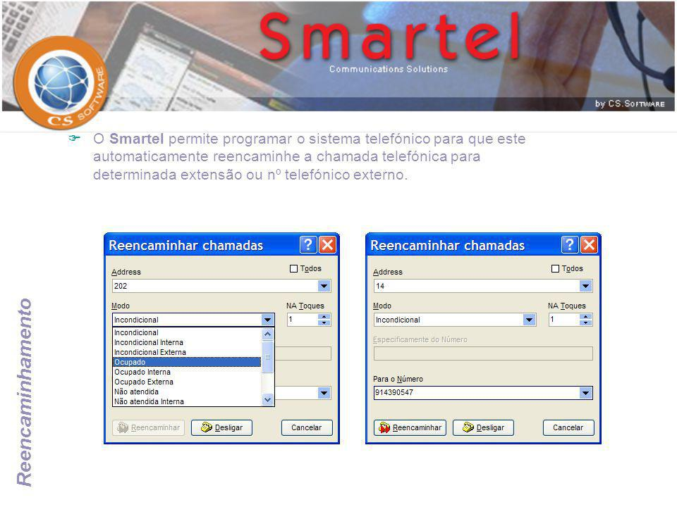 Reencaminhamento  O Smartel permite programar o sistema telefónico para que este automaticamente reencaminhe a chamada telefónica para determinada ex