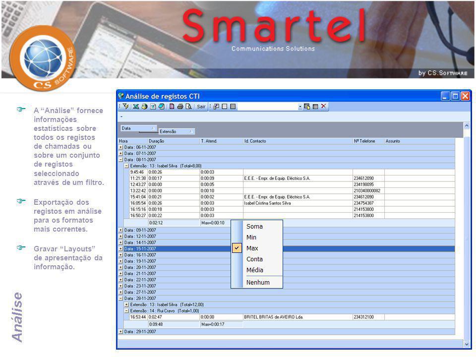 """Análise  A """"Análise"""" fornece informações estatísticas sobre todos os registos de chamadas ou sobre um conjunto de registos seleccionado através de um"""