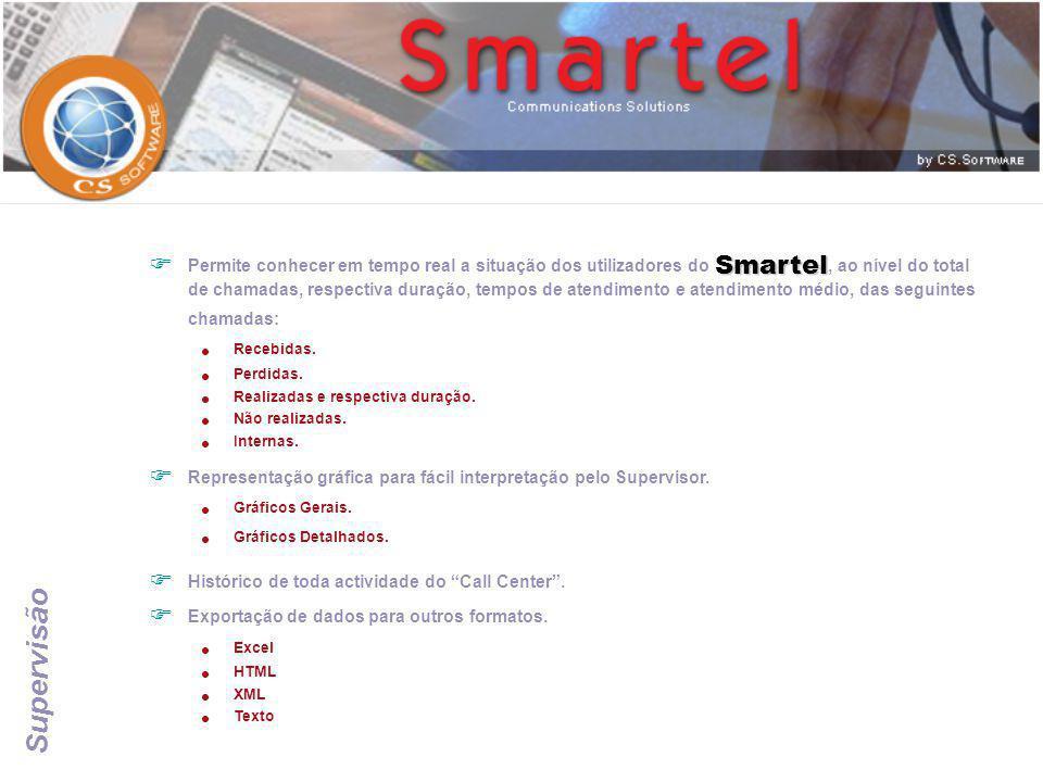 Supervisão Smartel  Permite conhecer em tempo real a situação dos utilizadores do Smartel, ao nível do total de chamadas, respectiva duração, tempos