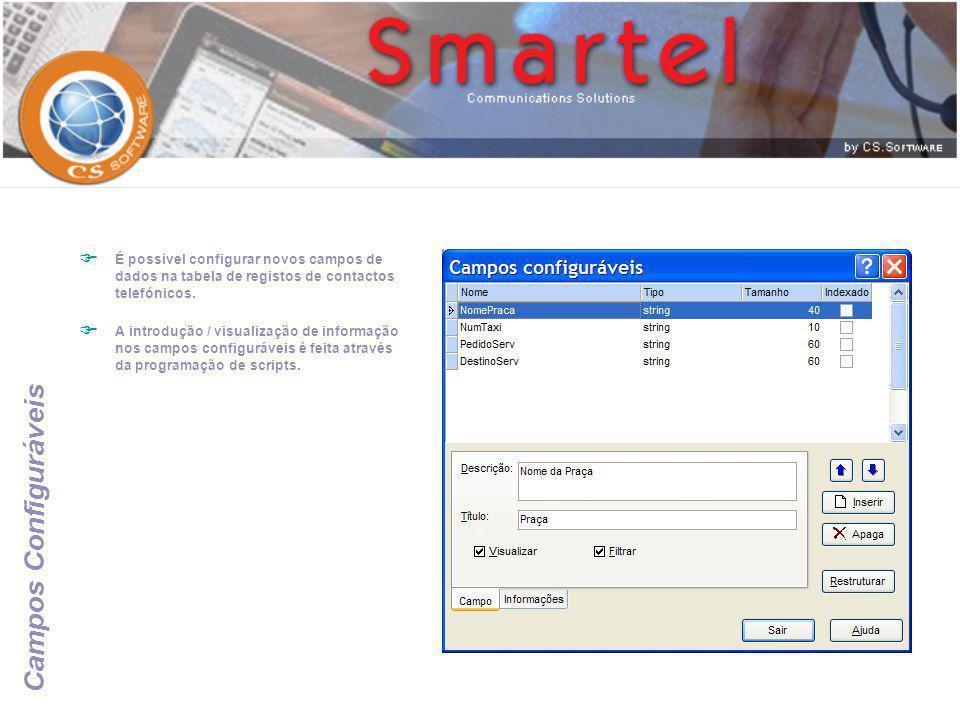 Campos Configuráveis  É possível configurar novos campos de dados na tabela de registos de contactos telefónicos.  A introdução / visualização de in