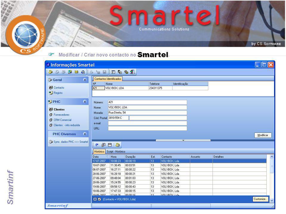 Smartinf Smartel  Modificar / Criar novo contacto no Smartel.