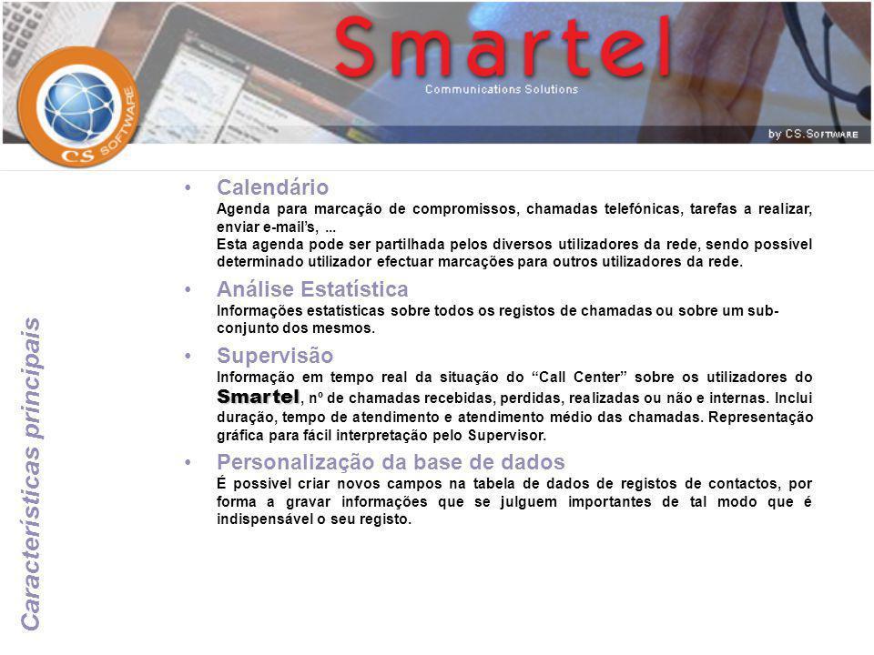 •Calendário Agenda para marcação de compromissos, chamadas telefónicas, tarefas a realizar, enviar e-mail's,... Esta agenda pode ser partilhada pelos