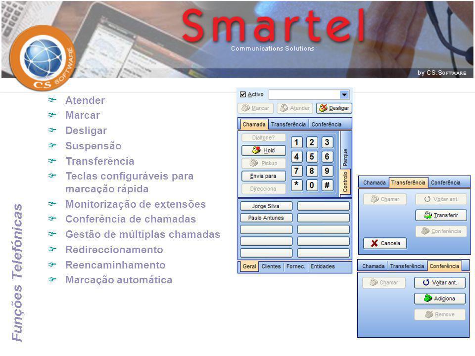 Funções Telefónicas  Atender  Marcar  Desligar  Suspensão  Transferência  Teclas configuráveis para marcação rápida  Monitorização de extensões