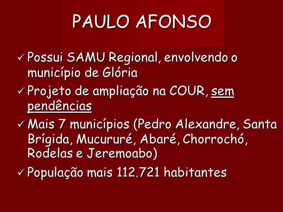 PAULO AFONSO  Possui SAMU Regional, envolvendo o município de Glória  Projeto de ampliação na COUR, sem pendências  Mais 7 municípios (Pedro Alexandre, Santa Brígida, Mucururé, Abaré, Chorrochó, Rodelas e Jeremoabo)   População mais 112.721 habitantes