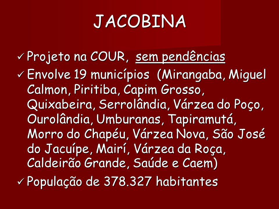 JACOBINA  Projeto na COUR, sem pendências  Envolve 19 municípios (Mirangaba, Miguel Calmon, Piritiba, Capim Grosso, Quixabeira, Serrolândia, Várzea do Poço, Ourolândia, Umburanas, Tapiramutá, Morro do Chapéu, Várzea Nova, São José do Jacuípe, Mairí, Várzea da Roça, Caldeirão Grande, Saúde e Caem)   População de 378.327 habitantes