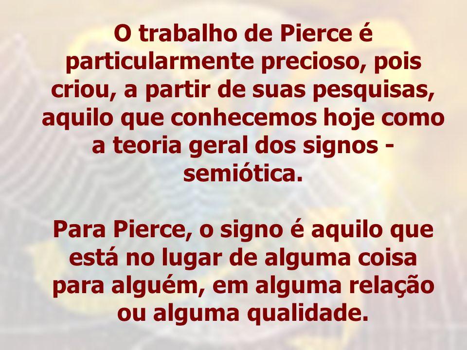 O trabalho de Pierce é particularmente precioso, pois criou, a partir de suas pesquisas, aquilo que conhecemos hoje como a teoria geral dos signos - s
