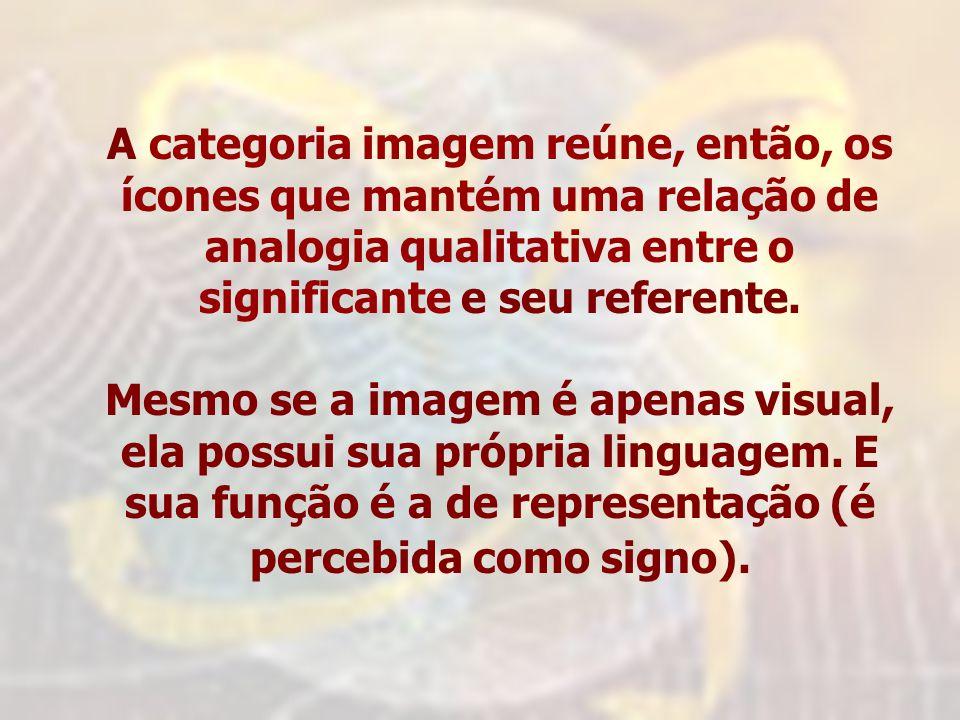 A categoria imagem reúne, então, os ícones que mantém uma relação de analogia qualitativa entre o significante e seu referente.