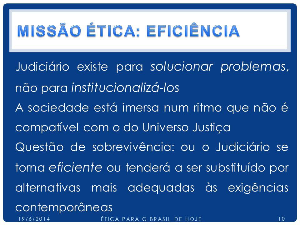 Judiciário existe para solucionar problemas, não para institucionalizá-los A sociedade está imersa num ritmo que não é compatível com o do Universo Justiça Questão de sobrevivência: ou o Judiciário se torna eficiente ou tenderá a ser substituído por alternativas mais adequadas às exigências contemporâneas 19/6/2014 ÉTICA PARA O BRASIL DE HOJE 10