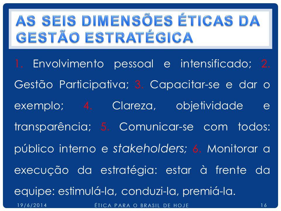 1. Envolvimento pessoal e intensificado; 2. Gestão Participativa; 3. Capacitar-se e dar o exemplo; 4. Clareza, objetividade e transparência; 5. Comuni