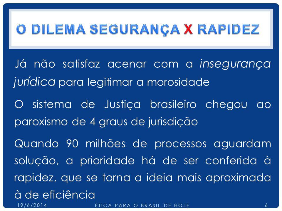 Já não satisfaz acenar com a insegurança jurídica para legitimar a morosidade O sistema de Justiça brasileiro chegou ao paroxismo de 4 graus de jurisdição Quando 90 milhões de processos aguardam solução, a prioridade há de ser conferida à rapidez, que se torna a ideia mais aproximada à de eficiência 19/6/2014 ÉTICA PARA O BRASIL DE HOJE 6