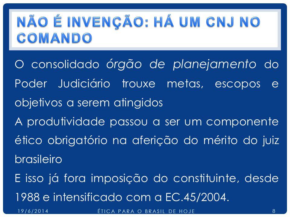 O consolidado órgão de planejamento do Poder Judiciário trouxe metas, escopos e objetivos a serem atingidos A produtividade passou a ser um componente ético obrigatório na aferição do mérito do juiz brasileiro E isso já fora imposição do constituinte, desde 1988 e intensificado com a EC.45/2004.