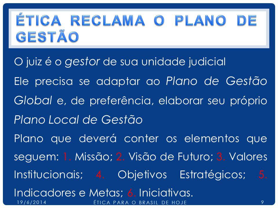 O juiz é o gestor de sua unidade judicial Ele precisa se adaptar ao Plano de Gestão Global e, de preferência, elaborar seu próprio Plano Local de Gestão Plano que deverá conter os elementos que seguem: 1.