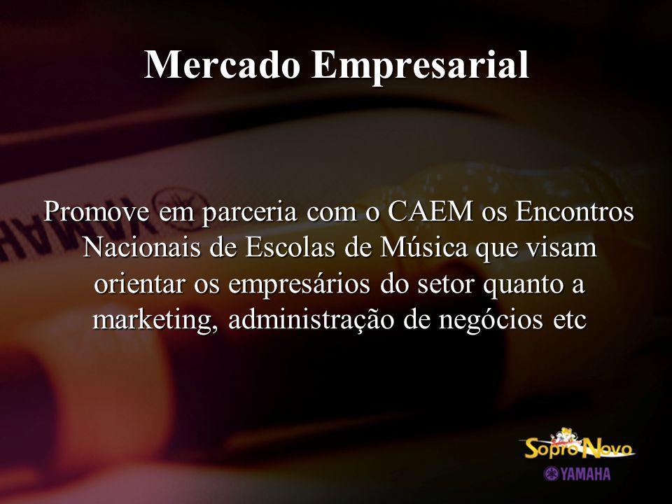 Mercado Empresarial Promove em parceria com o CAEM os Encontros Nacionais de Escolas de Música que visam orientar os empresários do setor quanto a marketing, administração de negócios etc